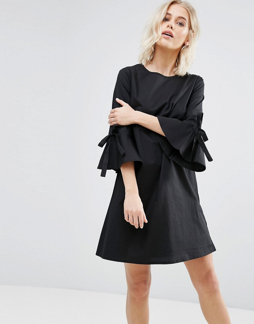 New Look Poplin Bow Sleeve Smock Dress - Black