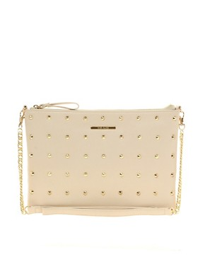 Image 1 ofRiver Island Cream Studded Messenger With Chain Bag