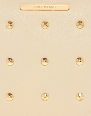 Image 2 ofRiver Island Cream Studded Messenger With Chain Bag
