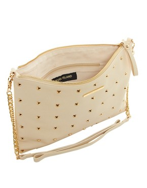 Image 4 ofRiver Island Cream Studded Messenger With Chain Bag