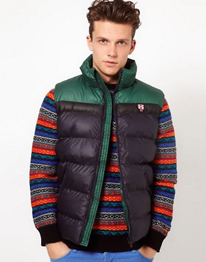 Image 1 ofPuffa Gilet with Contrast Shoulders
