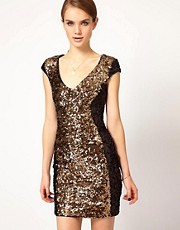French Connection Contrast Sequin Panel Dress