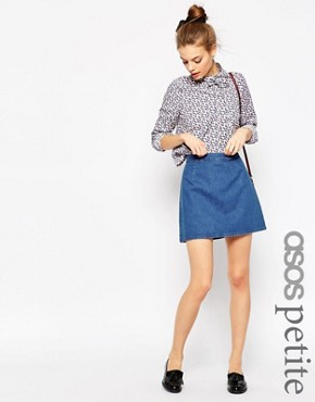 ASOS PETITE Denim A-Line Mini Skirt in Midwash Blue