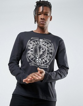 Versace Jeans Long Sleeve T-Shirt In Black With Gold Print