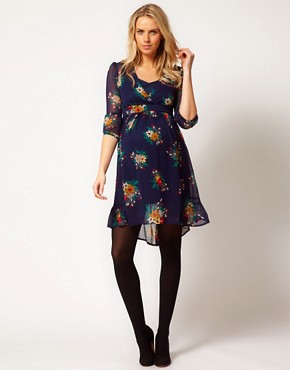 Image 4 ofASOS Maternity Chiffon Tea Dress In Floral Print