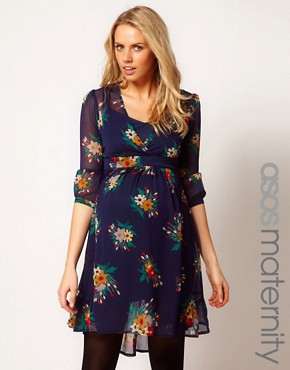 Image 1 ofASOS Maternity Chiffon Tea Dress In Floral Print