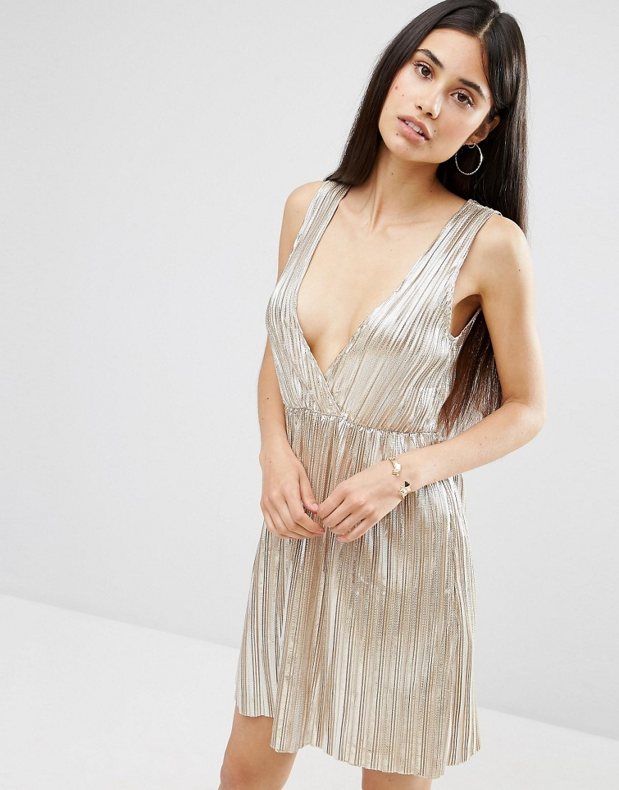 Oh My Love Metallic Pleat Plunging V Wrap Dress - Silver