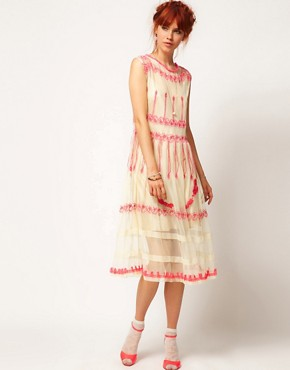 Image 1 ofASOS SALON Neon Mesh Midi Dress