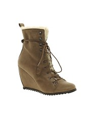 D.Co Copenhagen Wedge Lace-Up Boots With Fur Lining