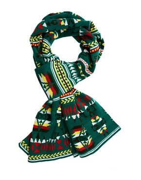 Image 1 ofASOS Green Aztec Scarf