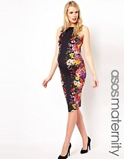 ASOS Maternity Bodycon Midi Dress In Mirror Floral