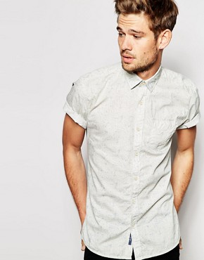 Selected Washed Short Sleeve Shirt with AO Paisley Print