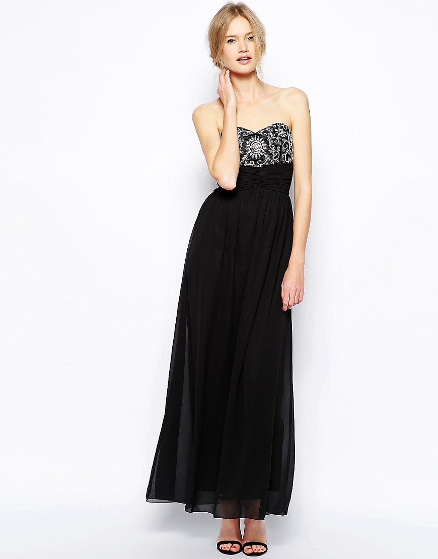 QED London Bandeau Maxi Dress with Bead Detail - Black