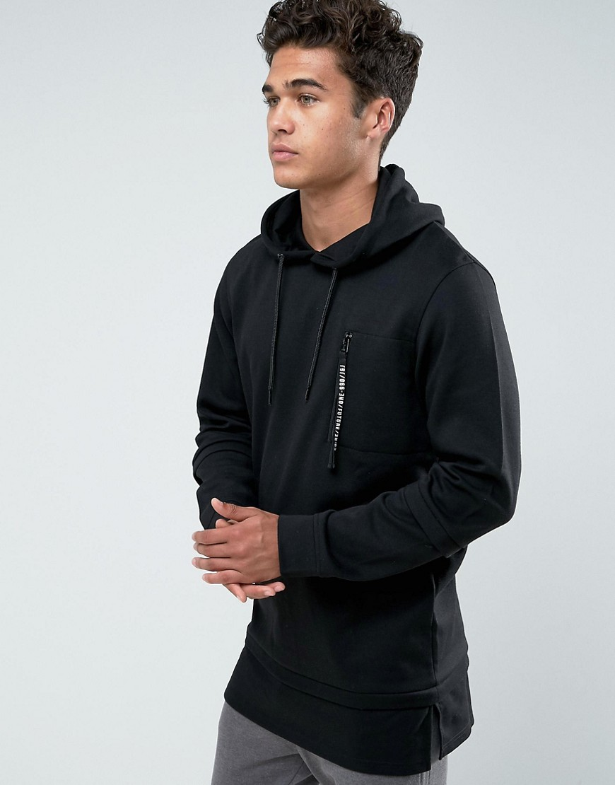 jack jones core hoodie with zip pocket and faux gay. Black Bedroom Furniture Sets. Home Design Ideas