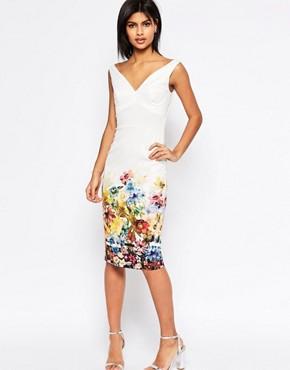 ASOS Placed Border Bardot Off The Shoulder Pencil Dress