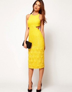 Image 2 ofASOS Diamond Back Midi Dress with Floral Embellishment