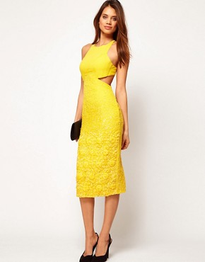 Image 4 ofASOS Diamond Back Midi Dress with Floral Embellishment