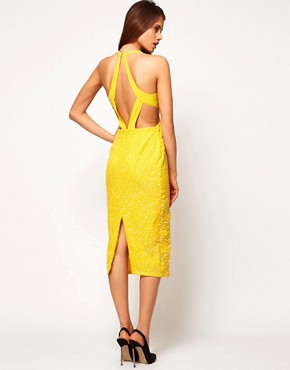 Image 1 ofASOS Diamond Back Midi Dress with Floral Embellishment