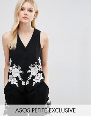 ASOS PETITE Co-ord Luxe Tux Vest with Pretty Floral Embroidery