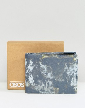ASOS Leather Wallet With Camouflage Print