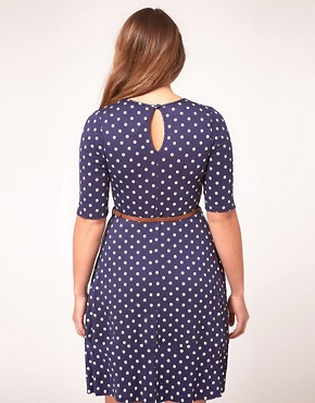 Image 2 ofASOS CURVE Skater Dress In Spot Print With Belt