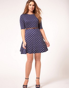 Image 4 ofASOS CURVE Skater Dress In Spot Print With Belt