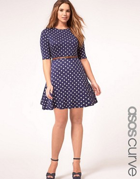 Image 1 ofASOS CURVE Skater Dress In Spot Print With Belt