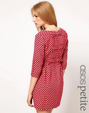 ASOS PETITE Exclusive Dress With Bow Back In Heart Print
