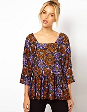 ASOS Top with Peplum in Butterfly Print