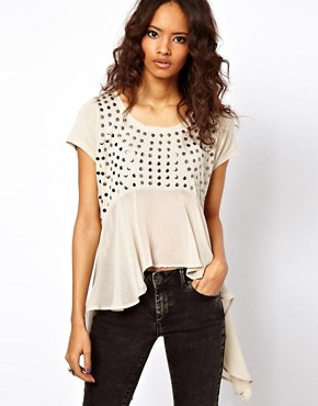 Image 1 ofASOS Studded Front Top with Woven Panel