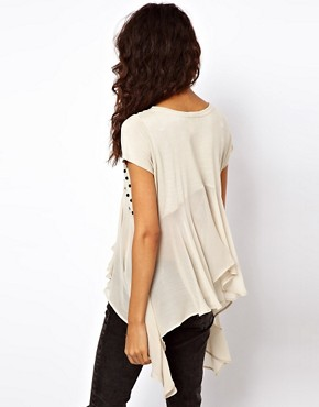 Image 2 ofASOS Studded Front Top with Woven Panel