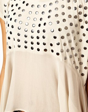 Image 3 ofASOS Studded Front Top with Woven Panel