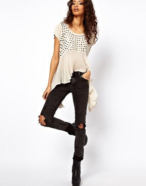 Image 4 ofASOS Studded Front Top with Woven Panel