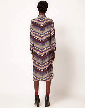 Image 2 ofMara Hoffman Stepped Hem Shirt Dress in Printed Silk
