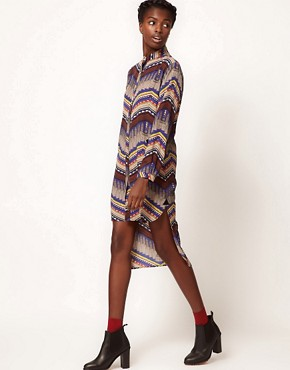 Image 4 ofMara Hoffman Stepped Hem Shirt Dress in Printed Silk