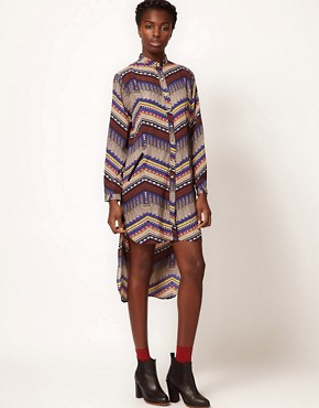 Image 1 ofMara Hoffman Stepped Hem Shirt Dress in Printed Silk