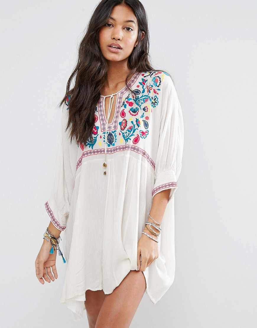 Billabong Relaxed Beach Smock Dress With Boho Embroidery - Cream