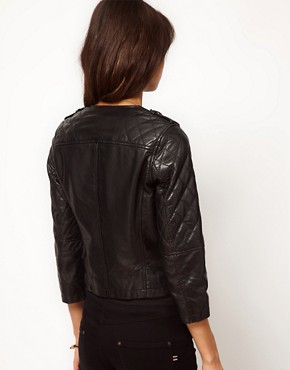 Image 2 ofASOS Leather Collarless Quilted Biker Jacket