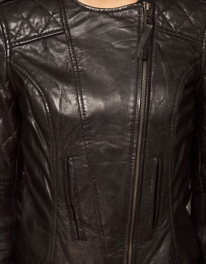 Image 3 ofASOS Leather Collarless Quilted Biker Jacket