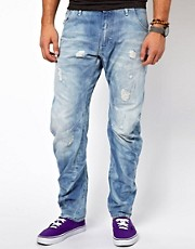 G-Star - Arc 3D - Jeans ampi e stretti in fondo con effetto invecchiato leggero