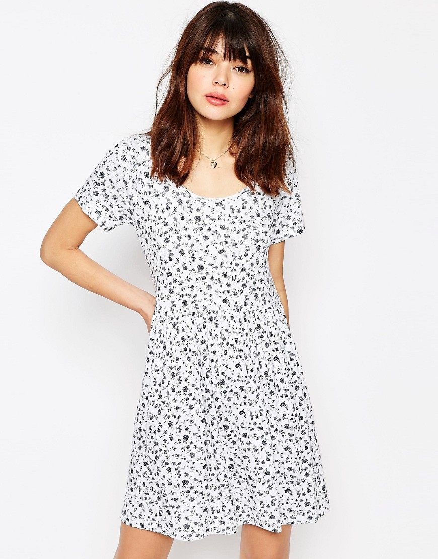 ASOS Rib Smock Dress in Ditsy Print - Multi