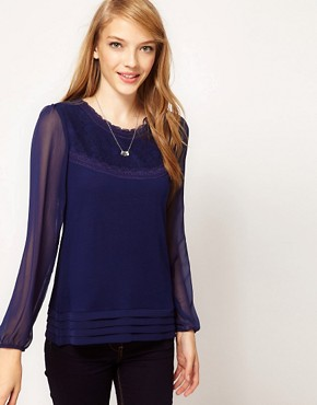 Image 1 ofA Wear Lace Yoke Top