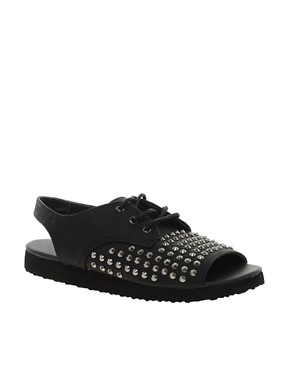 Image 1 ofASOS FEARLESS Studded Flat Shoes