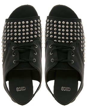Image 2 ofASOS FEARLESS Studded Flat Shoes