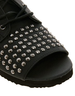 Image 4 ofASOS FEARLESS Studded Flat Shoes
