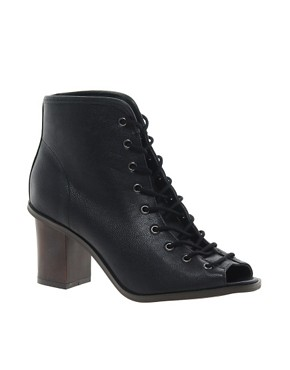 Image 1 ofRiver Island Lace Up Peep Toe Boots