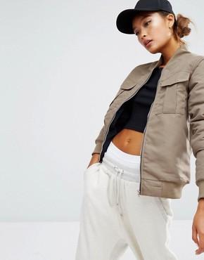 Daisy Street Bomber Jacket With Pockets