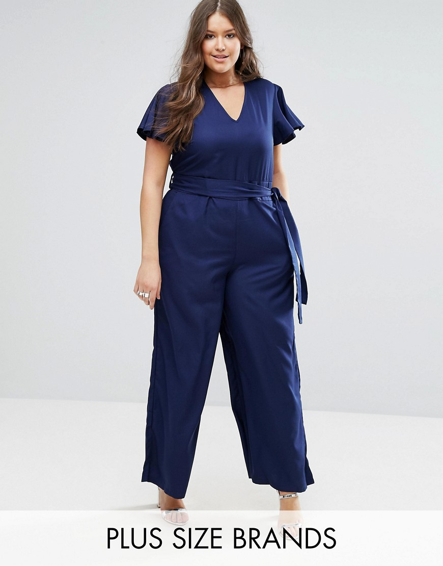 Koko Plus Jumpsuit With Kimono Sleeves - Navy