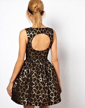 Image 2 ofASOS Mini Structured Dress In Metallic Animal