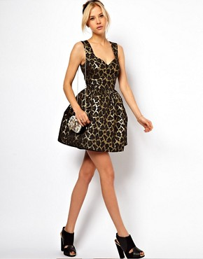 Image 4 ofASOS Mini Structured Dress In Metallic Animal
